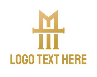 Professional - Gold Vintage M logo design