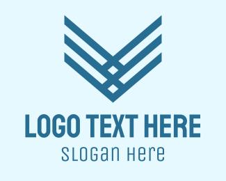 Framing - Blue Stripe Letter V logo design
