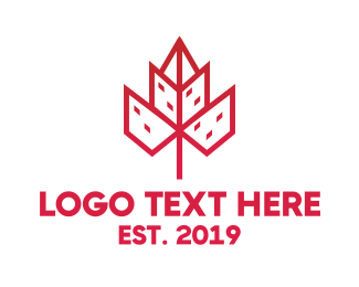 Red Flower - Geometric City Flower logo design