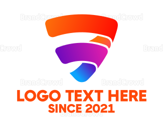 Orange And Purple - Colorful Shield logo design