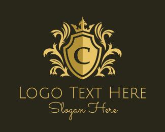 Flourish - Gold Ornate Crest Letter C logo design