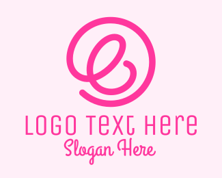 Icon - Pink Curly Letter E logo design