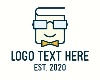 Library - Book Geek Guy logo design