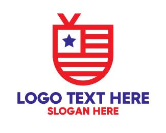 Tv - USA Shield TV logo design
