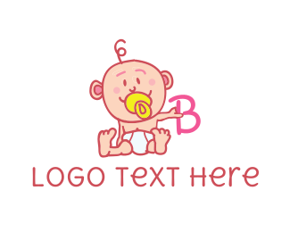 Pacifier - Baby & Letter B logo design