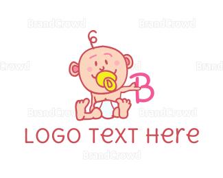 Nappy - Baby & Letter B logo design