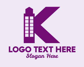 Pink Building - Pink Minimalist K Tower logo design