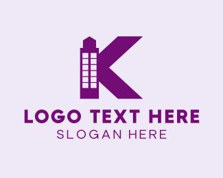 Pink Building - Purple Minimalist K Tower logo design