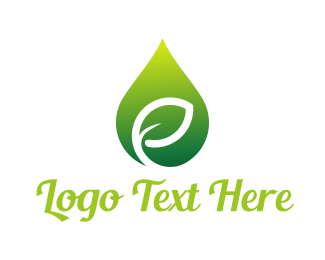 Vape - Green Leaf Drop logo design