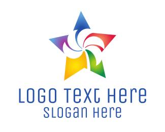 Design Agency - Colorful Palm Star logo design