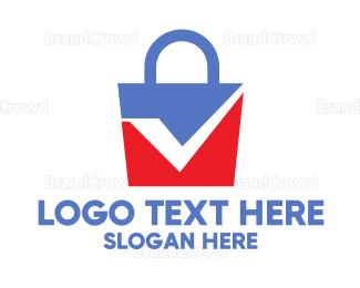 Approval - Blue Red Check Bag logo design