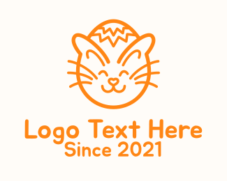 Cartoon - Orange Cat Easter Egg  logo design