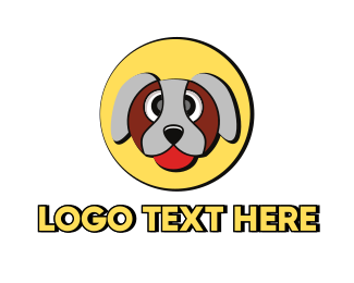 Brown Dog - Cute Dog Circle logo design