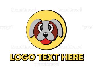 Domesticated Animal - Cute Dog Circle logo design