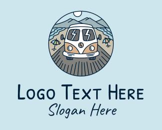 Road Trip - Hippie Trailer Van logo design