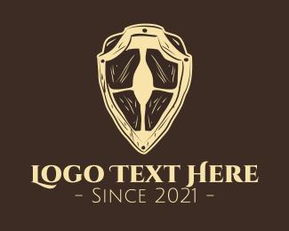 Wooden - Wooden Medieval Shield logo design