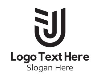J - Geometric Letter U & J logo design