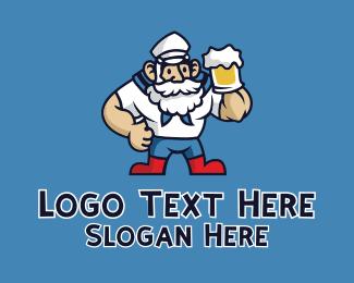 Bourbon - Beer Sailor Man logo design