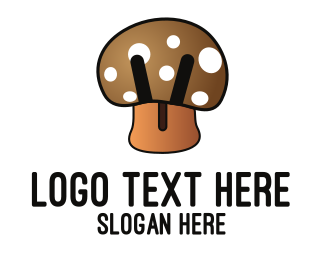White And Brown - Brown Mushroom  logo design
