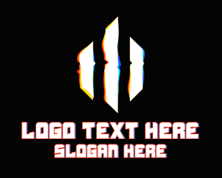 Three - Three Stripe Glitch logo design