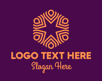Intricate - Orange Intricate Hexagon Pattern logo design