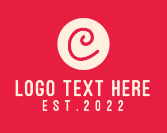Initial - Pink Handwritten Letter C logo design