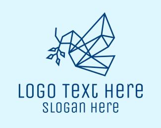 Peace - Geometric Peace Dove logo design