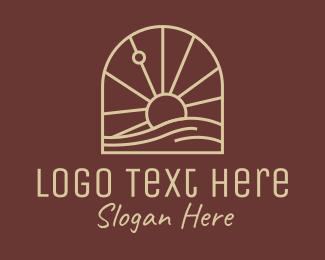 Massage - Brown Sunset Massage logo design