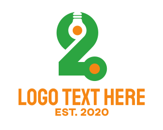 Number 2 - Light Bulb Number 2 logo design