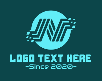 Cybersace - Blue Technology Letter N logo design