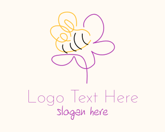 Bumble Bee - Bee Flower Outline  logo design