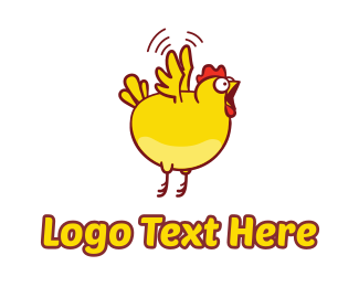 Chicken - Chicken Fly Jump logo design