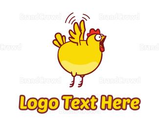 Fast Food - Chicken Fly Jump logo design