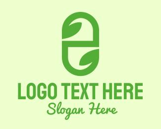 Leaf - Green Organic Medicine Letter E logo design