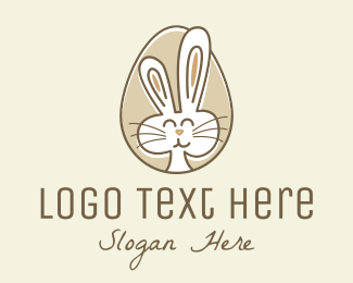 Nursery - Bunny Rabbit Egg logo design