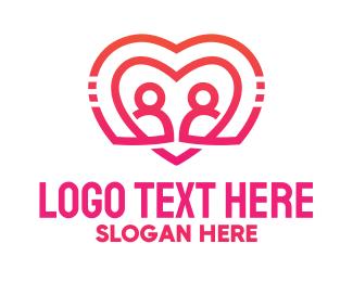 Matchmaking - Pink Futuristic Heart Couple logo design