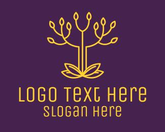 Leaf - Golden Elegant Tree Branch logo design