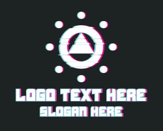 Fashion - Triangle Circle Glitch logo design