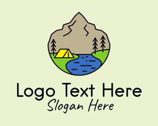 Accommodation - Mountain Camp Line Art logo design