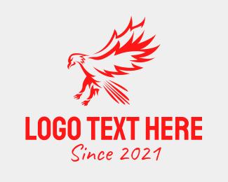 Eagle - Red Flying Hawk logo design