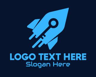 Space Vehicle - Blue Space Rocket Key logo design