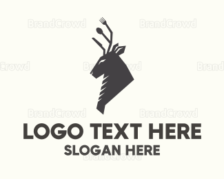 Food Truck - Brown Cutlery Deer logo design