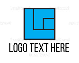 Pebble - Blue Square logo design