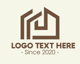 Wooden - Brown Wooden House logo design
