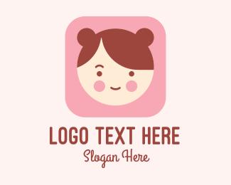Mobile App - Cute Girl Mobile App logo design