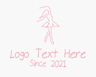 Ballet School - Pink Ballet Dancer logo design