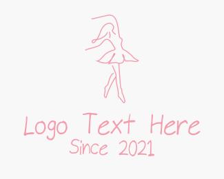 Dancing - Pink Ballet Dancer logo design