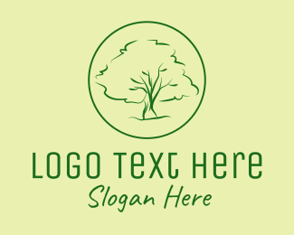 Oak - Green Oak Tree logo design