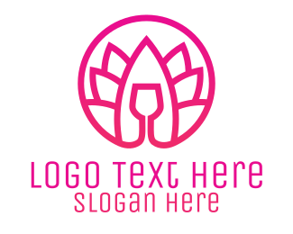 Relax - Pink Wine Glass Lotus logo design