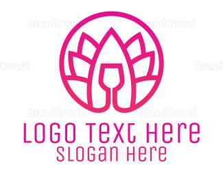 Eco-friendly - Pink Wine Glass Lotus logo design
